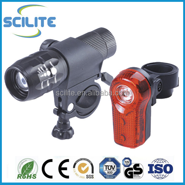 Ultra Brightness LED Front Rear Bicycle Light set 1W C ree LED Headlight 3 LED Taillight