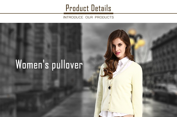 Hot Sale woman v neck long sleeves knit cardigan sweater with Button