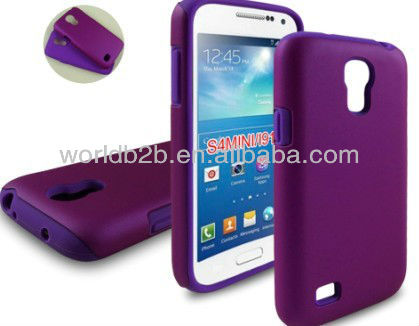 Hot Selling 2 in 1 Silicone Case & Rubber Hard Back Phone Cover For Samsung Galaxy S4 Mini i9190,PC & Silicone combo design