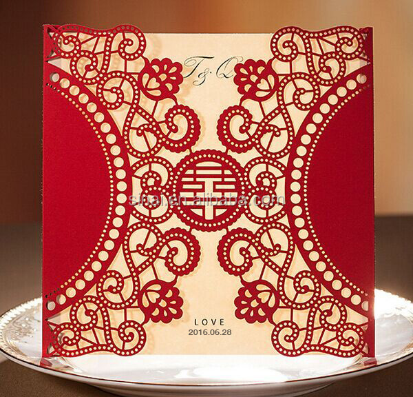 Beautiful Chinese type Double Happiness Personalized Laser Cut Wedding Invitation Card