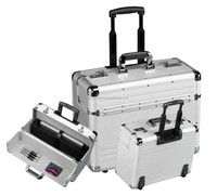 New Aluminium Pilot Case Wheeled Briefcase Carry Case Travel Work Business