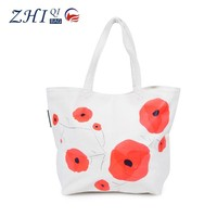 Factory direct BSCI 14N large space foldable tote canvas shopping bag with flower printing for ladies