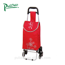 Powder Coating Collapsible Wheeled Foldable Cart For Shopping Trolley