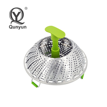 stainless steel fruit vegetable steamer basket with extendable handle