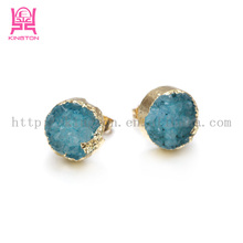 simple gold earring designs natural stone druzy earrings