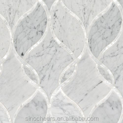 mother pearl of shell mix marble waterjet tile