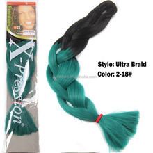 Hot sell ombre green Ultra Braid hair long yaki wave two tone color synthetic jumbo braid hair extension