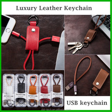 Genuine leather men D ring usb cable charger keychain for iphone