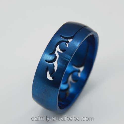 Wholesale Stainless Steel Blue Stamping band lollow out leaf Ring
