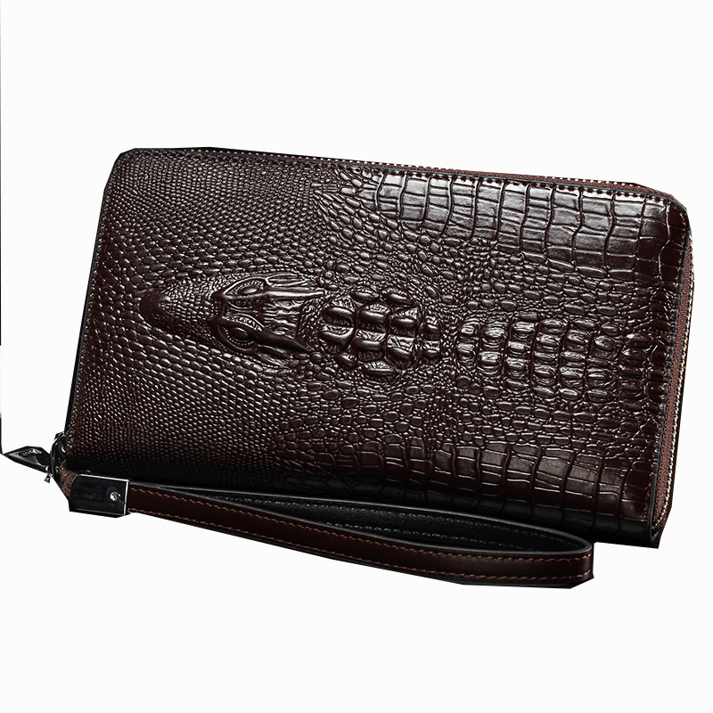 Hengsheng card men's handbags new crocodile pattern wallet Europe and the United States trend fashion temperament hand bag men