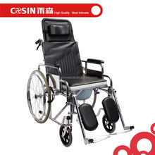 Manual wheelchair with High headrest/backres/reclining backrest/commode chair