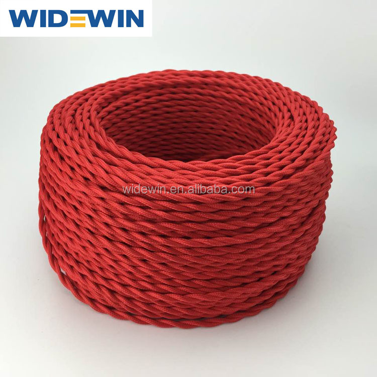 Red Textile Cable Fabric Cotton Wires Decorative Lighting Fabric Cable Cotton Textile Cable Braided Electrical Wire