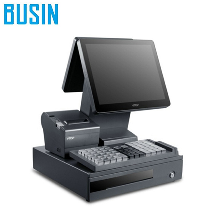 Busin KD5-S2+ pos machine for supermarket with pos keyboard and dual screen