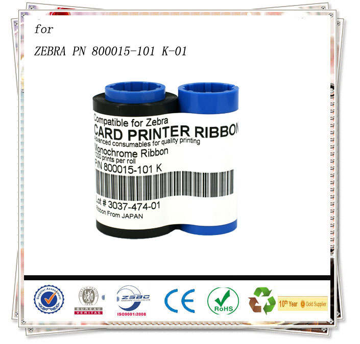 For Zebra PN 800015-101 K-01 card Ribbon - 1000 prints