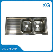 double drainer double bowl kitchen sink/Kitchen utensils stainless steel sink double bowl with tray drain board