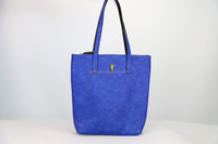 blue and black pu leather tote bags handbag ,two face with different color .