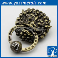3D lion antique brass metal promotion lapel pin