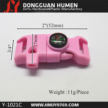 "New color 1/2"" Pink fire starter buckle with whistle, paracord flint buckle"