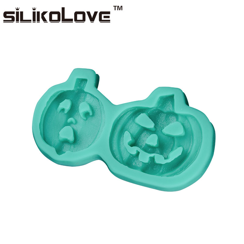 2017 Halloween Design 2 Cavity Pumpkin Shaped Unique Silicone Chocolate Chips Molds
