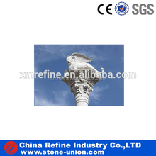 outdoor ornamental statue pillar design with lion statue on head,stone pillars Factory price