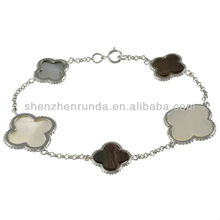 Wholesale 2013 La Preciosa Silver Mother of Pearl and Abalone Shell Clover Bracelet