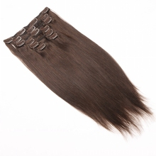 Kastanjebruin 7 stks/set Clip In Human Hair Extensions