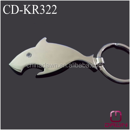 Newest metak shark keychain bottle opener with compass stock CD-KR322