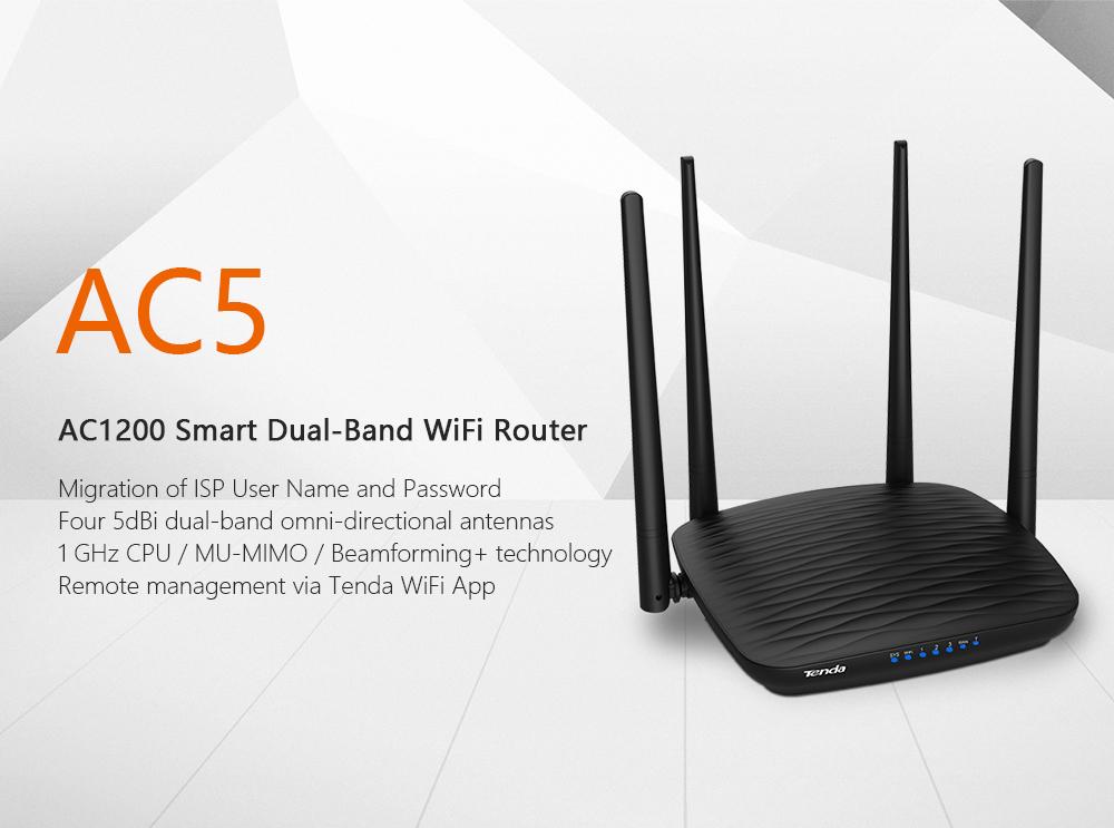 Сеть Роутер Tenda AC5 AC1200 с 5dBi антеннами Wifi повторитель 2.4Ghz 5GHz с функцией управления приложением и английским интерфейсом (Фото 5)