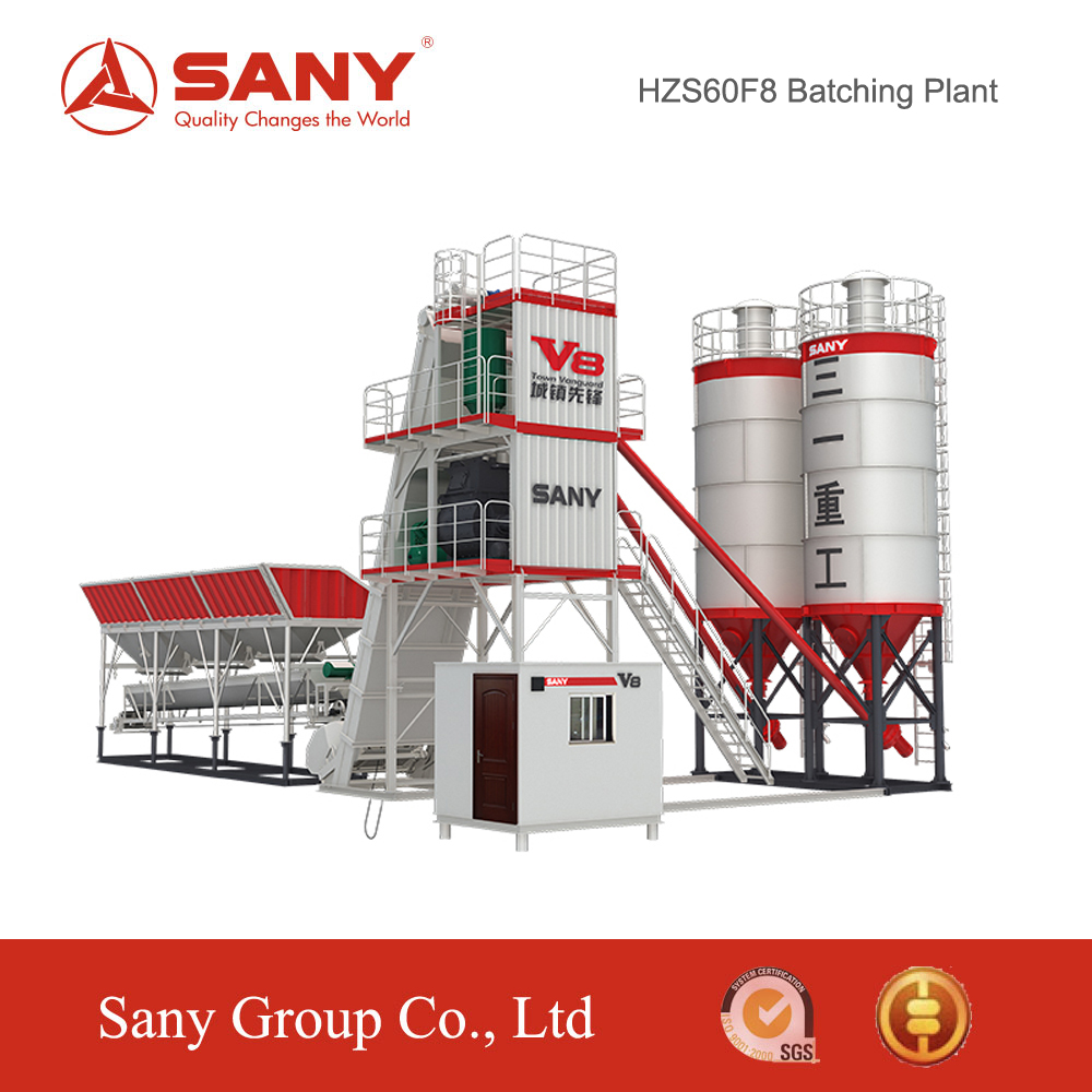 SANY HZS60 F8 Series stationary wet mix concrete batching plant specification ready mixed concrete batching plant