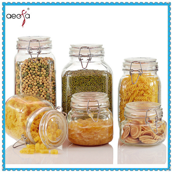 Hot sale empty glass jars with glass lid and metal clip