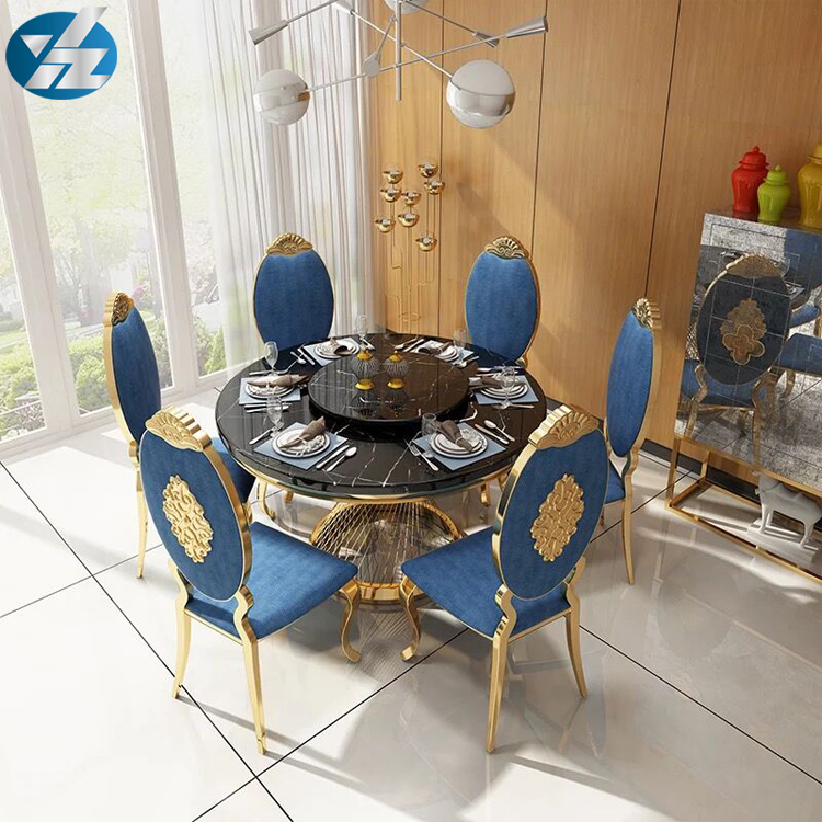 Luxury Gold Marble Top Round Wedding Events Dinning Table