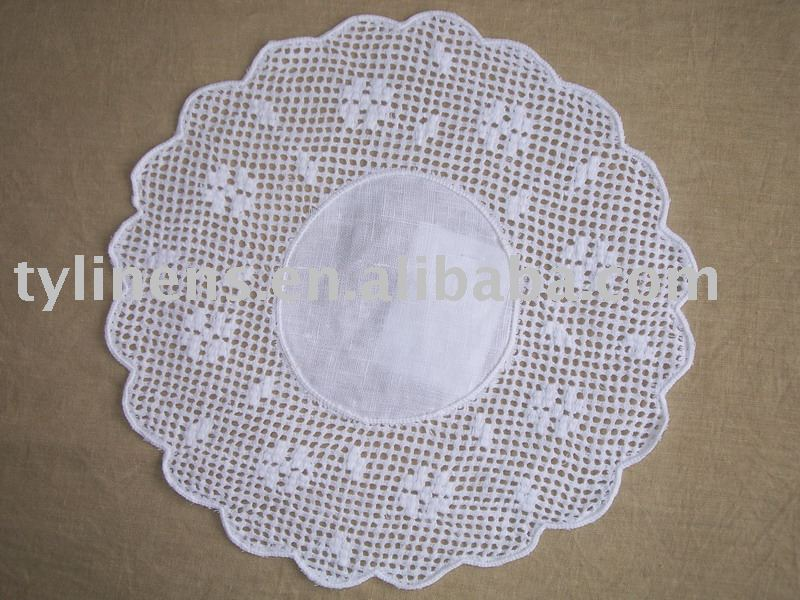 Round cotton hand crochet placemat