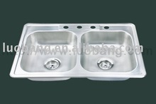 Stainless Steel Kitchen Sink (Topmount Double Bowl) LB-604