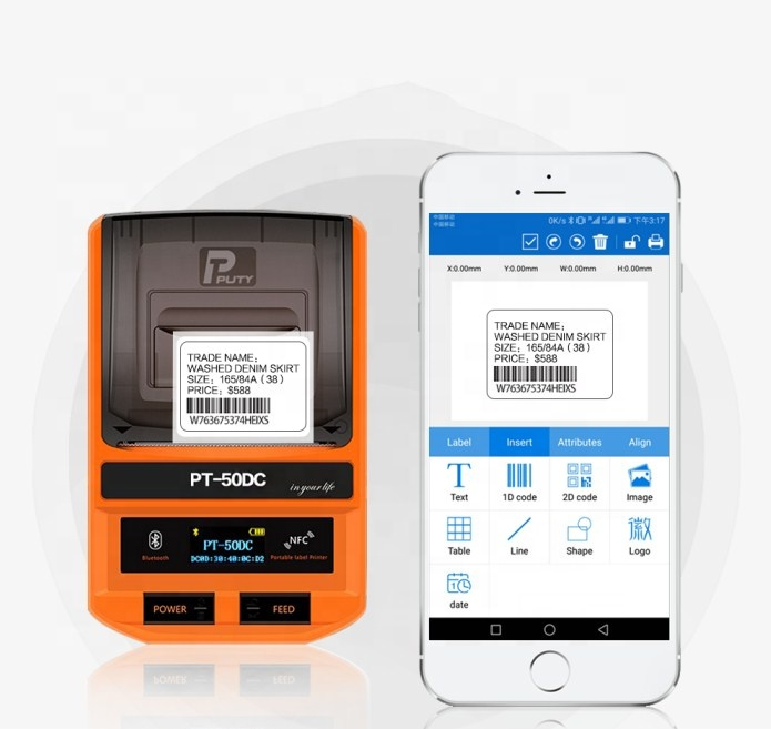 PUTY Wireless Mobile Barcode <strong>Printer</strong> PT-50DC