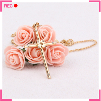 Latest design imitation gold necklace with cross pendant, imitation gold pendant necklace