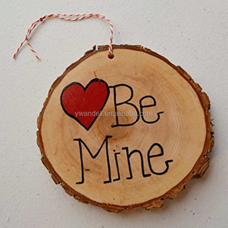 Handmade Hand Painted Wood Tree Slice Be Mine Valentine Day Wall Decoration Ornament