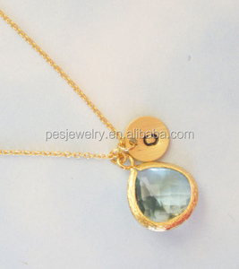 PES Hot jewelry! Rhinestone bezel necklace personalized jewelry initial disc charm pendant(PES3-930)