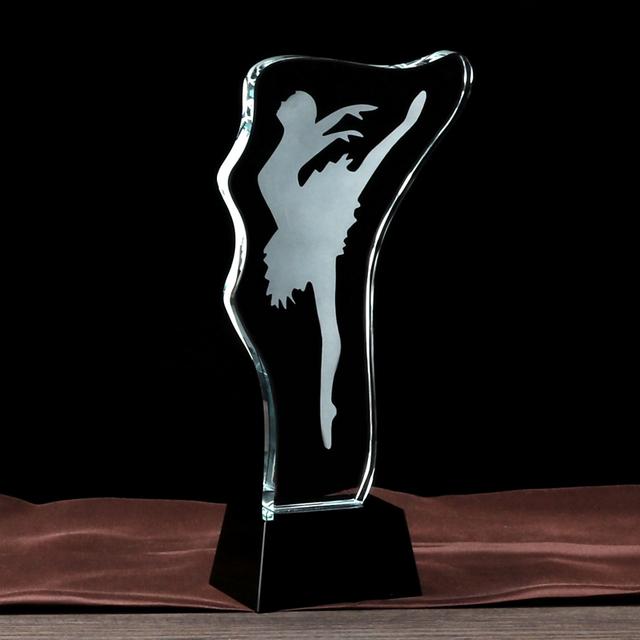 Simple crystal award trophy glass plaque for dancer gift