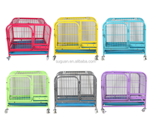 2017 unique design pet crate good quality foldable stainless steel dog cage with four wheels
