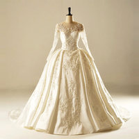 AH1901 duches satin low back train smart elegant wedding dress lace long sleeve wedding gown