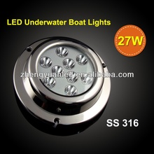Hot!!!IP68 Waterproof Underwater LED Rope Light for fishing boat 27W Stainless Steel 316 Housing