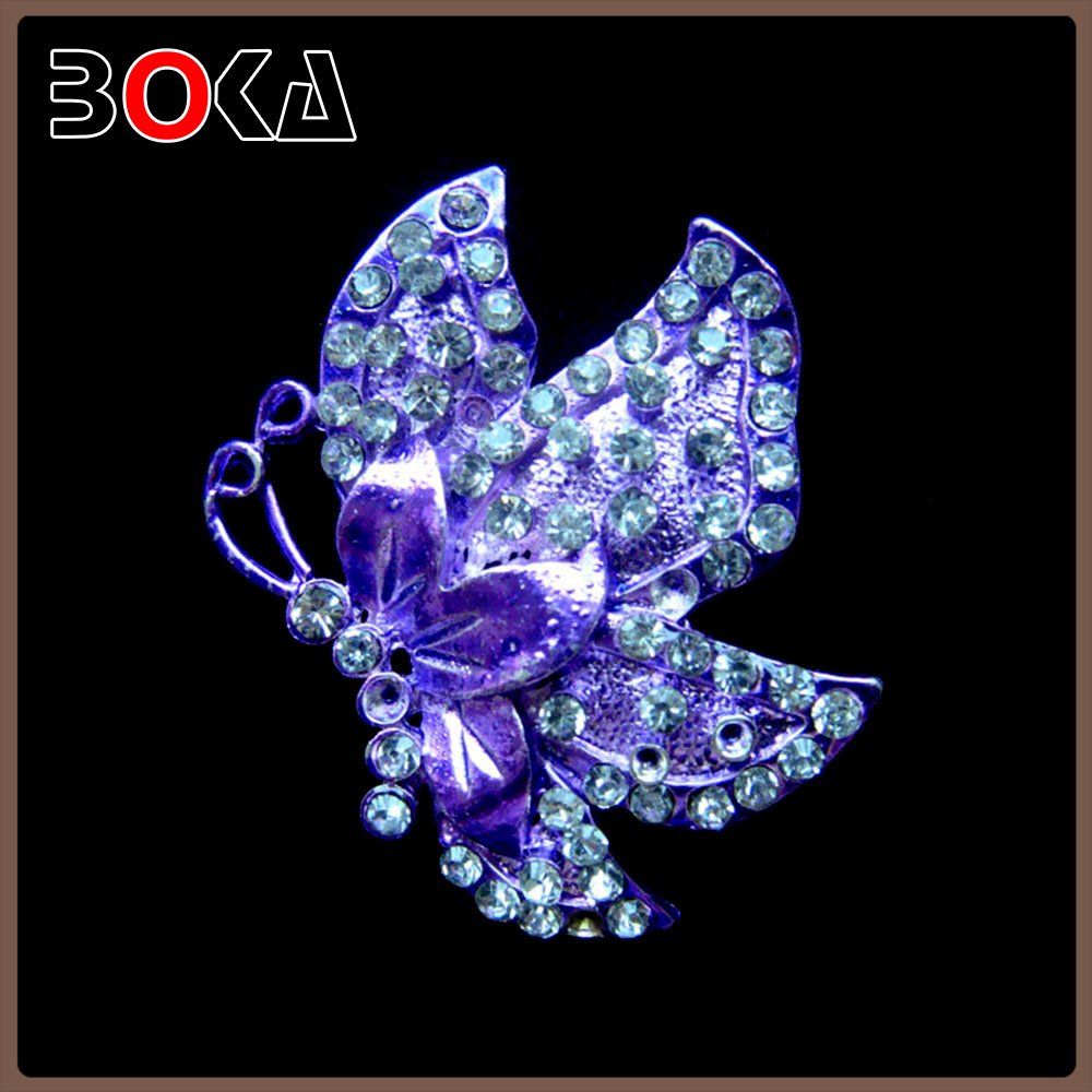 Butterfly Bling purple Rhinestone Crystal Silver Tone Pendant Pin brooch