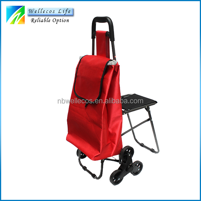 folding shopping cart with seat,foldable stair-climbing shopping cart with chair