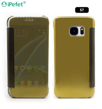 Clear view Mirror effect Flip smart case cover for Samsung S7