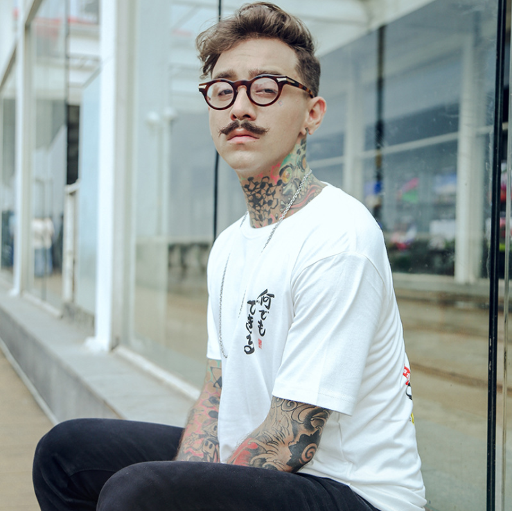 Men vintage menswear spring/summer 2019 T-shirt short sleeves and round neck stylish print sports tshirt