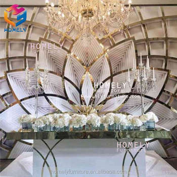 wholesale portable grand white hotel party event stage stand wooden gold heart mirror acrylic lotus wedding backdrop decoration