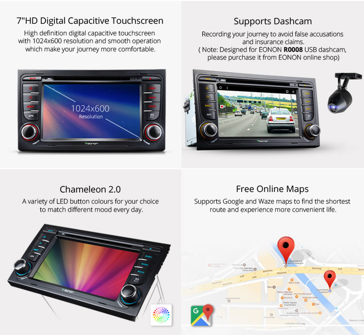 EONON GA7158S for Audi A4/S4/RS4 Android 6.0 Quad-Core 7 inch Multimedia Car DVD GPS