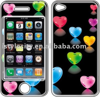 Graphic Self-Adhesive Vinyl Skin for Apple iPhone 4 (Color Hearts)