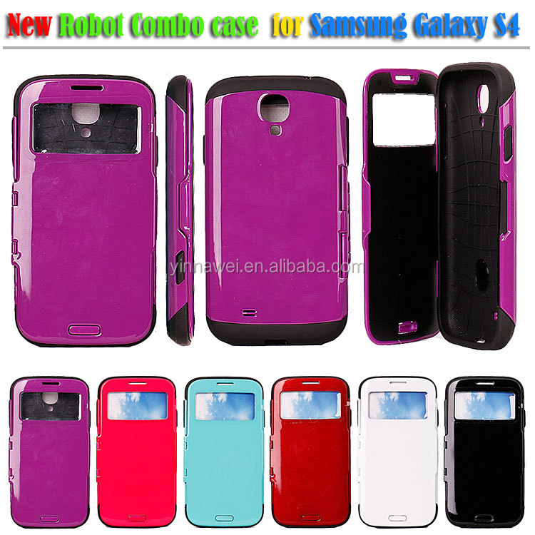 For Samsung GALAXY S4 Dual Windows Protective Flip Open covers Combo case