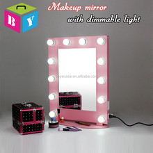 New design hot sale lighted hollywood makeup cosmetic vanity girl mirror with dimmable LED bulbs lights and hanging ring